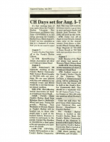 CH Days set for Aug 5-7