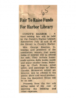 Fair To Raise Funds For Harbor Library