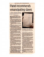 Panel Recommends Emancipating Slaves