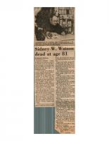 Sidney W. Watson Dead at 81