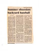 Summer Obsession Backyard Baseball